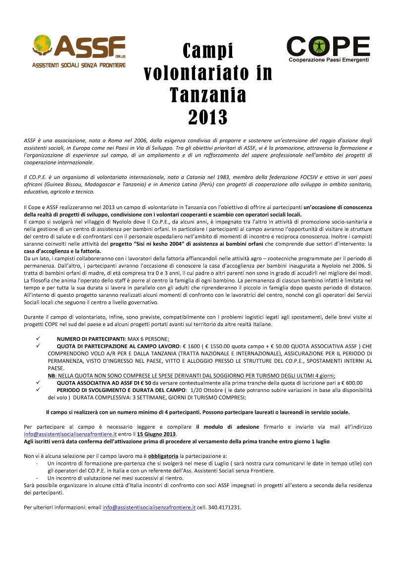 Annuncio-Campo_Lavoro_Tanzania-ASSF_2013